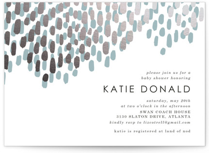 Modern Dash Foil-Pressed Baby Shower Invitations