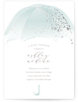 This is a blue foil stamped baby shower invitation by Phrosne Ras called Sparkling Umbrella with foil-pressed printing on signature in standard.