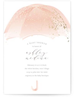 Sparkling Umbrella Foil-Pressed Baby Shower Invitations