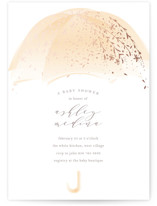 This is a yellow foil stamped baby shower invitation by Phrosne Ras called Sparkling Umbrella with foil-pressed printing on signature in standard.