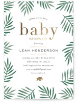 This is a green foil stamped baby shower invitation by Amy Kross called jungle edge with foil-pressed printing on signature in standard.