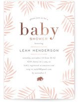 This is a pink foil stamped baby shower invitation by Amy Kross called jungle edge with foil-pressed printing on signature in standard.