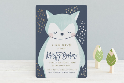Night Owl Foil-Pressed Baby Shower Invitations