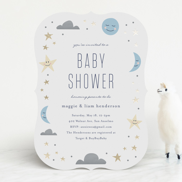 """Moon and the Stars"" - Foil-pressed Baby Shower Invitations in Celestial by Carolyn MacLaren."