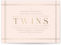 This is a pink foil stamped baby shower invitation by Amy Kross called linen edge with foil-pressed printing on signature in standard.