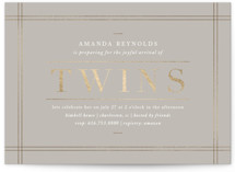 This is a grey foil stamped baby shower invitation by Amy Kross called linen edge with foil-pressed printing on signature in standard.