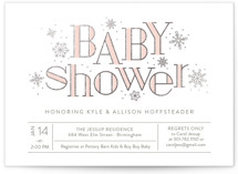 This is a pink foil stamped baby shower invitation by Sarah Brown called Frosted with foil-pressed printing on signature in standard.
