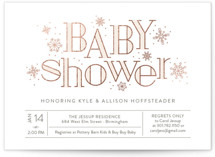This is a beige foil stamped baby shower invitation by Sarah Brown called Frosted with foil-pressed printing on signature in standard.