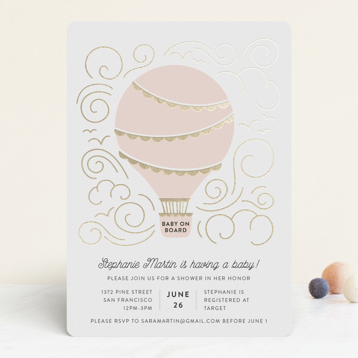 """""""Liftoff!"""" - Whimsical & Funny Foil-pressed Baby Shower Invitations in Blush by Pine and Lark."""