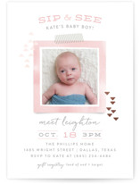 This is a pink foil stamped baby shower invitation by Hooray Creative called Modern Sip & See with foil-pressed printing on signature in standard.