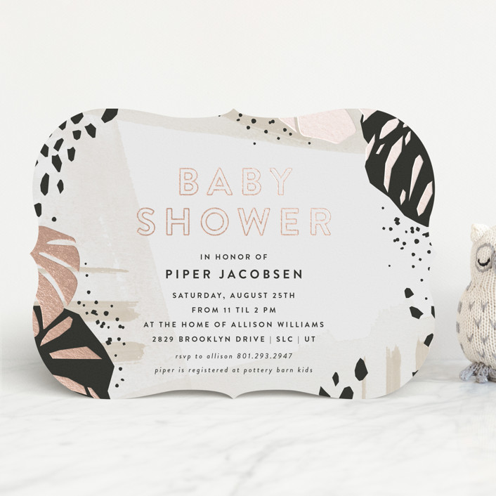 """""""Mod Safari"""" - Foil-pressed Baby Shower Invitations in Blush by Robert and Stella."""