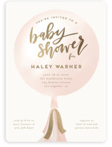 This is a gold foil stamped baby shower invitation by Leah Bisch called Balloon with foil-pressed printing on signature in standard.