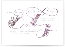 This is a purple foil stamped baby shower invitation by Lori Wemple called Little Garden with foil-pressed printing on signature in standard.