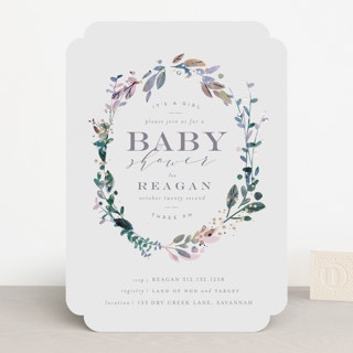 Showered Wreath Foil-Pressed Baby Shower Invitations
