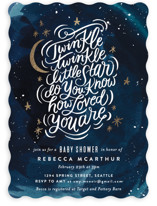 This is a blue foil stamped baby shower invitation by Alethea and Ruth called How Loved You Are with foil-pressed printing on signature in standard.
