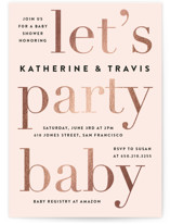 This is a pink foil stamped baby shower invitation by Jennifer Lew called Laud with foil-pressed printing on signature in standard.