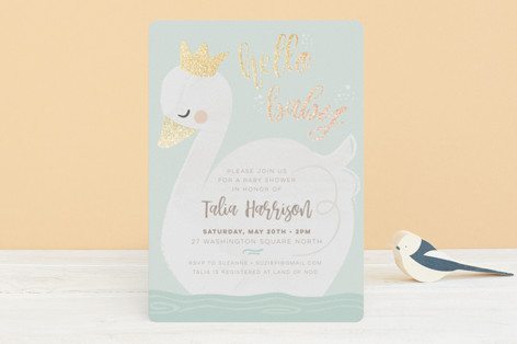 swan lake Foil-Pressed Baby Shower Invitations