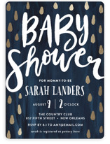 This is a blue foil stamped baby shower invitation by Chasity Smith called Simple Lettering with foil-pressed printing on signature in standard.
