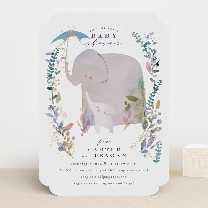 """""""Elephant Shower"""" - Foil-pressed Baby Shower Invitations in Periwinkle by Lori Wemple."""