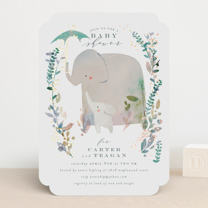 """Elephant Shower"" - Foil-pressed Baby Shower Invitations in Forest by Lori Wemple."