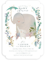 This is a green foil stamped baby shower invitation by Lori Wemple called Elephant Shower with foil-pressed printing on signature in standard.