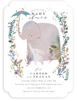 This is a blue foil stamped baby shower invitation by Lori Wemple called Elephant Shower with foil-pressed printing on signature in standard.