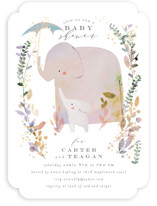 This is a brown foil stamped baby shower invitation by Lori Wemple called Elephant Shower with foil-pressed printing on signature in standard.