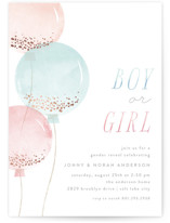 This is a pink foil stamped baby shower invitation by Robert and Stella called Glitter Balloons with foil-pressed printing on signature in standard.