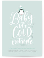 This is a blue foil stamped baby shower invitation by Itsy Belle Studio called baby penguin with foil-pressed printing on signature in standard.
