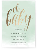 This is a green foil stamped baby shower invitation by Kasia Labocki called scripted oh baby with foil-pressed printing on signature in standard.