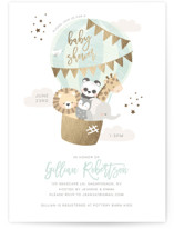 This is a green foil stamped baby shower invitation by peetie design called baby balloon ride with foil-pressed printing on signature in standard.