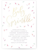 This is a colorful foil stamped baby shower invitation by Hooray Creative called All Over Sprinkles with foil-pressed printing on signature in standard.