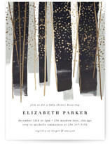 This is a black foil stamped baby shower invitation by Rebecca Durflinger called gilded new year streamers with foil-pressed printing on signature in standard.