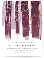 This is a purple foil stamped baby shower invitation by Rebecca Durflinger called gilded new year streamers with foil-pressed printing on signature in standard.