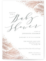 This is a grey foil stamped baby shower invitation by Sarah Brown called Frosted Pine with foil-pressed printing on signature in standard.