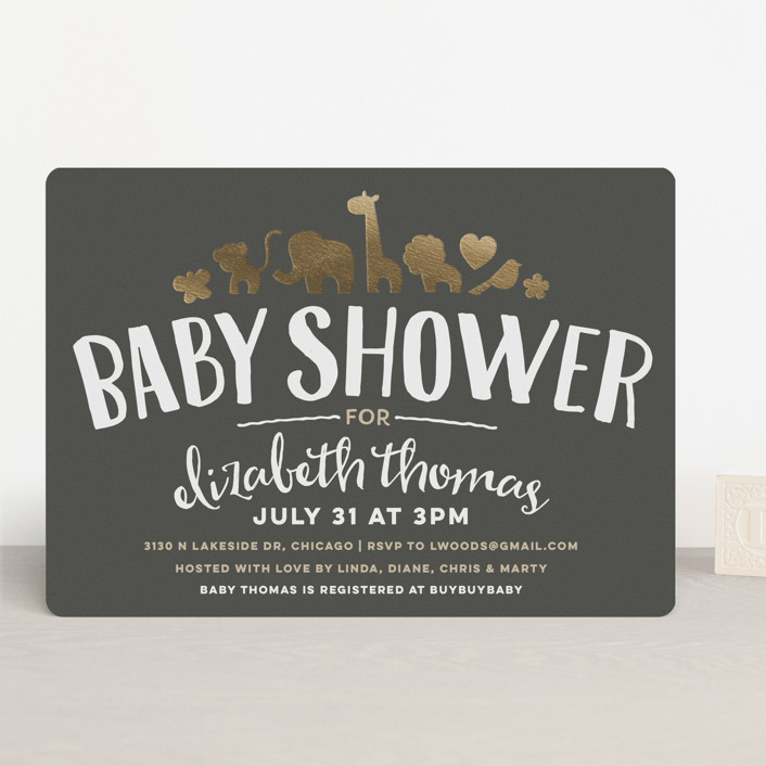 """Fancy Zoo"" - Hand Drawn, Whimsical & Funny Foil-pressed Baby Shower Invitations in Gold by Jessie Steury."