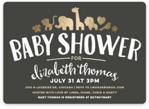 This is a gold foil stamped baby shower invitation by Jessie Steury called Fancy Zoo with foil-pressed printing on signature in standard.