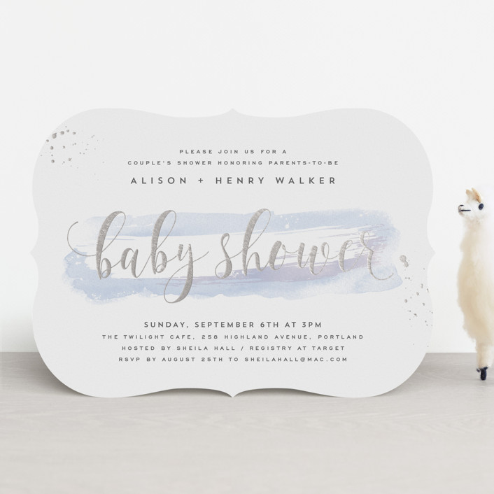 """""""Modernista"""" - Whimsical & Funny Foil-pressed Baby Shower Invitations in Aqua by Hooray Creative."""
