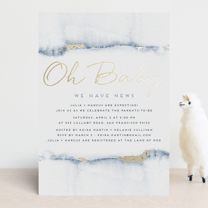 """""""Oh Baby We Have News!"""" - Modern, Whimsical & Funny Foil-pressed Baby Shower Invitations in Steel by Maria Hilas Louie."""