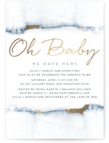 This is a blue foil stamped baby shower invitation by Maria Hilas Louie called Oh Baby We Have News! with foil-pressed printing on signature in standard.