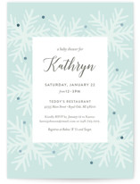This is a green foil stamped baby shower invitation by Genna Blackburn called Snowfall with foil-pressed printing on signature in standard.
