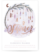 This is a purple foil stamped baby shower invitation by Grace Kreinbrink called Whimsical Mobile with foil-pressed printing on signature in standard.