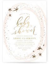 This is a gold foil stamped baby shower invitation by Carolyn Nicks called Ethereal Sky with foil-pressed printing on signature in standard.