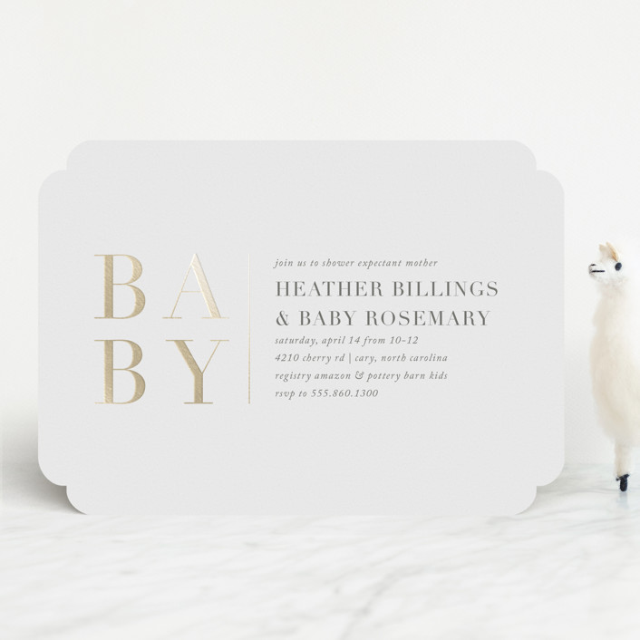 Rosemary Customizable Foil Pressed Baby Shower Invitations In White By Amy Kross