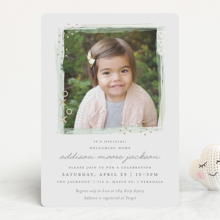 """""""Patch"""" - Abstract, Modern Foil-pressed Baby Shower Invitations in Seafoam by Snow and Ivy."""