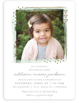 This is a green foil stamped baby shower invitation by Snow and Ivy called Patch with foil-pressed printing on signature in standard.