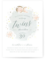 This is a blue foil stamped baby shower invitation by Lori Wemple called Twin Stars with foil-pressed printing on signature in standard.