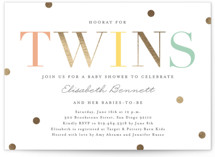 This is a colorful foil stamped baby shower invitation by Erica Krystek called Hooray for Twins with foil-pressed printing on signature in standard.