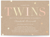This is a brown foil stamped baby shower invitation by Erica Krystek called Hooray for Twins with foil-pressed printing on signature in standard.