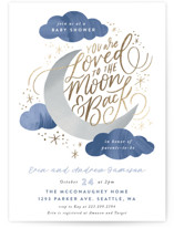 This is a blue foil stamped baby shower invitation by Alethea and Ruth called Moon and Back Cloudy Sky with foil-pressed printing on signature in standard.